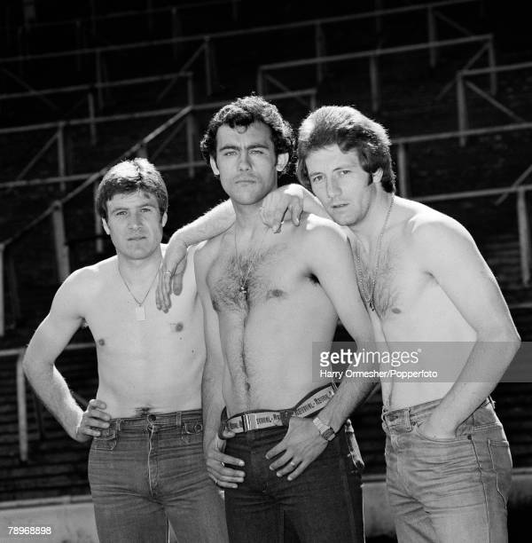 Football 12th May 1977 Liverpools 'pinups' Emlyn Hughes Ray Kennedy and Jimmy Case show off their physiques as they pose with their shirts off