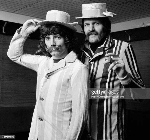 Football March 1976 Liverpool FC strike partnership Kevin Keegan and John Toshack dress up in fancy dress costumes as 'old time music hall' performers