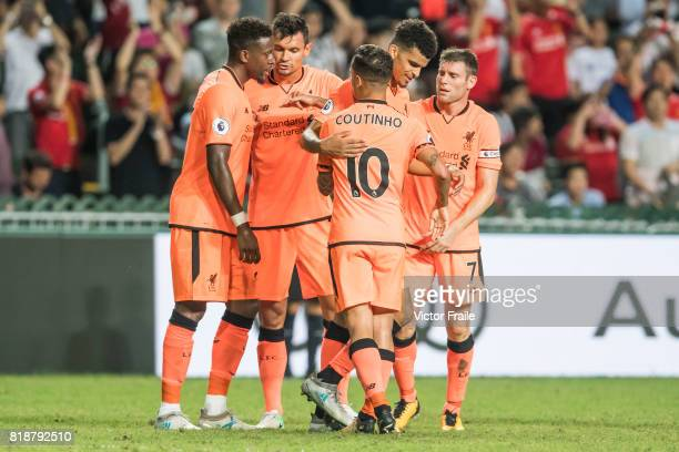 Liverpool FC forward Dominic Solanke celebrates during the Premier League Asia Trophy match between Liverpool FC and Crystal Palace FC at Hong Kong...