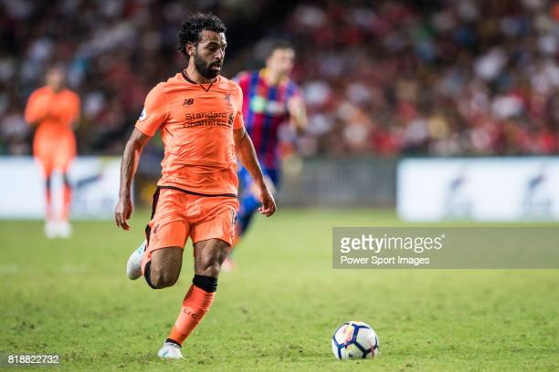 Liverpool FC forward Mohamed Salah in action during the Premier League Asia Trophy match between Liverpool FC and Crystal Palace FC at Hong Kong...