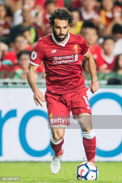 Liverpool FC forward Mohamed Salah in action during the Premier League Asia Trophy match between Liverpool FC and Leicester City FC at Hong Kong...