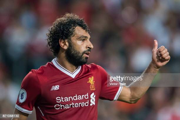 Liverpool FC forward Mohamed Salah reacts during the Premier League Asia Trophy match between Liverpool FC and Leicester City FC at Hong Kong Stadium...