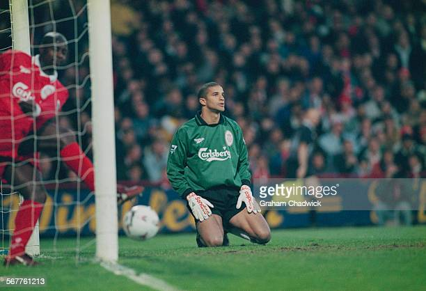 Liverpool F.C. Goalkeeper David James during a Premier League match against Wimbledon F.C., 6th May 1997. Wimbledon F.C. Went on to win the game 2-1.
