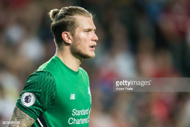 Liverpool FC goalkeeper Loris Karius looks on during the Premier League Asia Trophy match between Liverpool FC and Leicester City FC at Hong Kong...
