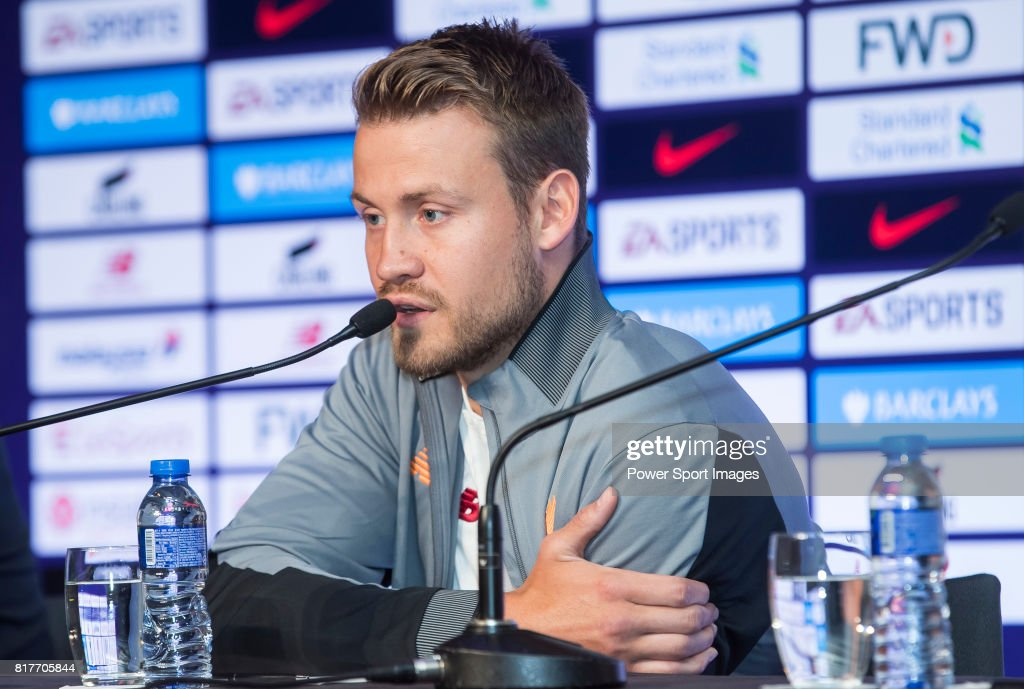 Liverpool FC goalkeeper Simon Mignolet speaks to the media during the Premier League Asia Trophy 2017 Pre-Match Press Conferences at the Grand Hyatt Hotel on July 18, 2017 in Hong Kong, Hong Kong.