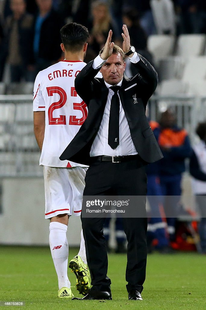 Liverpool FC head Coach congrats Liverpool's fans after the Europa League game between FC Girondins de Bordeaux and Liverpool FC at Matmut Atlantique Stadium on September 17, 2015 in Bordeaux, France.