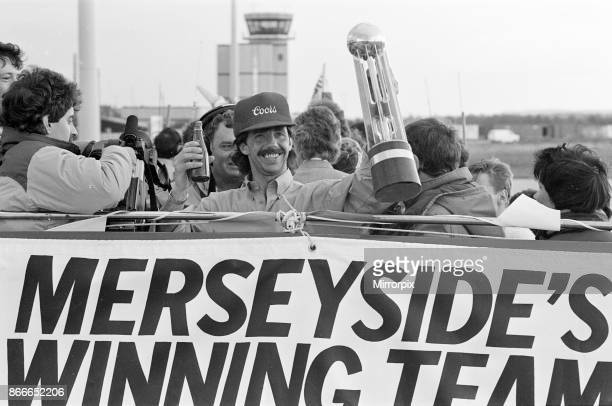 Liverpool FC Homecoming Victory Parade after winning the FA Cup and completing a League and Cup double Sunday 11th May 1986 Mark Lawrenson