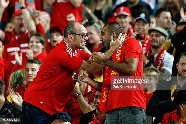 Liverpool FC Legends fans react during the match between Liverpool FC Legends and the Australian Legends at ANZ Stadium on January 7 2016 in Sydney...