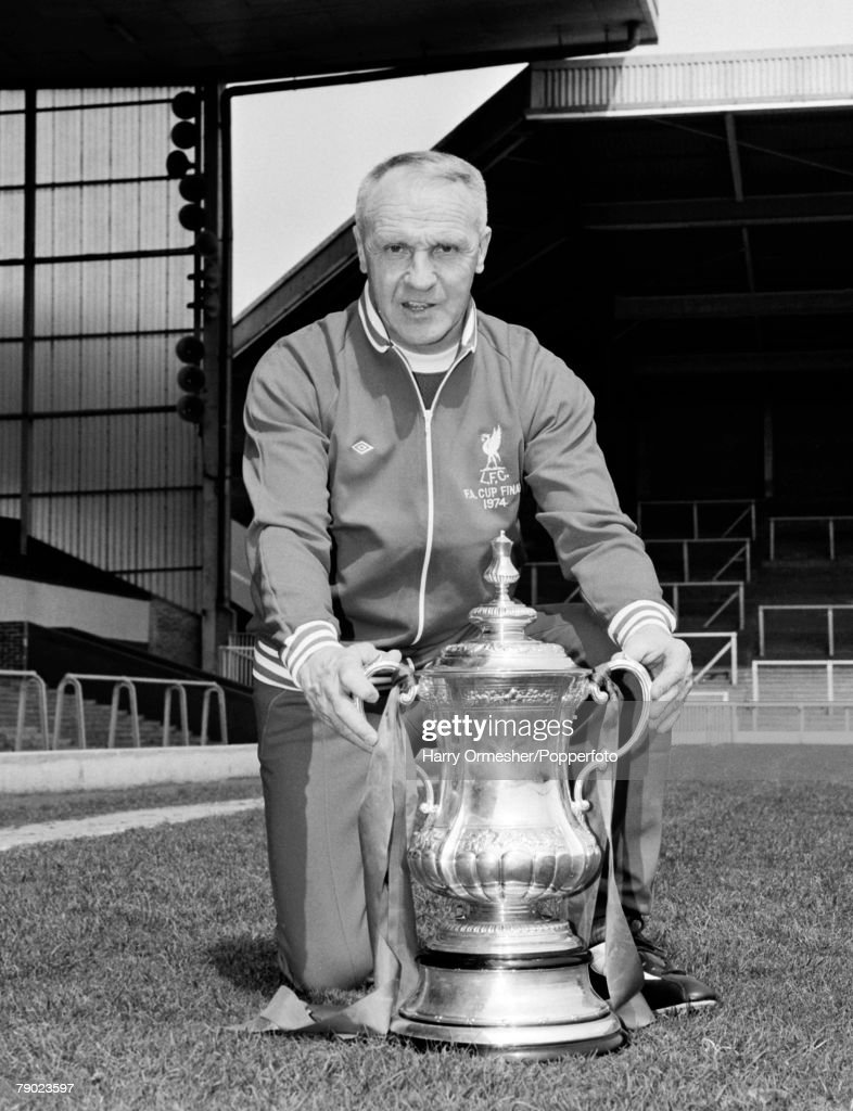 Sport, Football, England, 1974, Liverpool FC Manager Bill Shankly is pictured with the FA Cup trophy at Anfield following his sides victory over Newcastle United