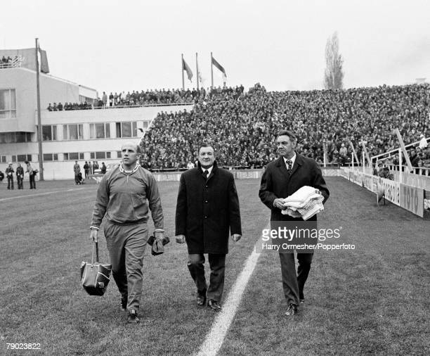 Liverpool FC manager Bob Paisley with his assistants Joe Fagan and Ronnie Moran before the European Cup Winners' Cup Second Round 2nd Leg match at...