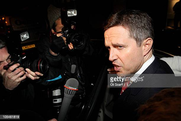 Liverpool FC managing director Christian Purslow speaks to the media as he leaves the offices of the law firm Slaughter and May on October 14 2010 in...
