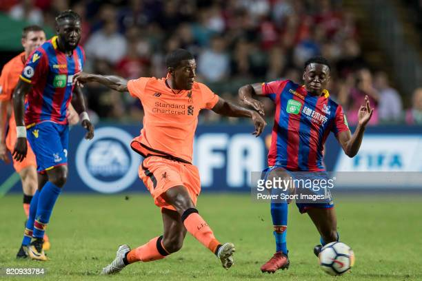 Liverpool FC midfielder Georginio Wijnaldum battles for the ball with Crystal Palace midfielder Aaron WanBissaka during the Premier League Asia...