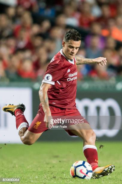 Liverpool FC midfielder Philippe Coutinho in action during the Premier League Asia Trophy match between Liverpool FC and Leicester City FC at Hong...