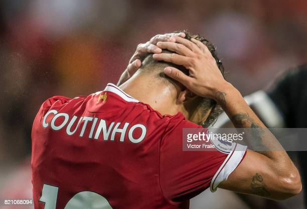 Liverpool FC midfielder Philippe Coutinho reacts during the Premier League Asia Trophy match between Liverpool FC and Leicester City FC at Hong Kong...