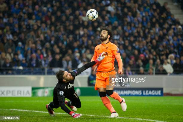 Liverpool FC player Mohamed Salah scores the second goal during the UEFA Champions League round 16 first leg 2017/18 match between FC Porto and...