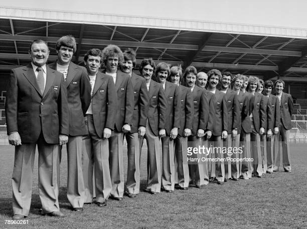 Liverpool FC players and management line up for a team photograph in their European Cup Final suits at Anfield in Liverpool, England, circa May 1978....