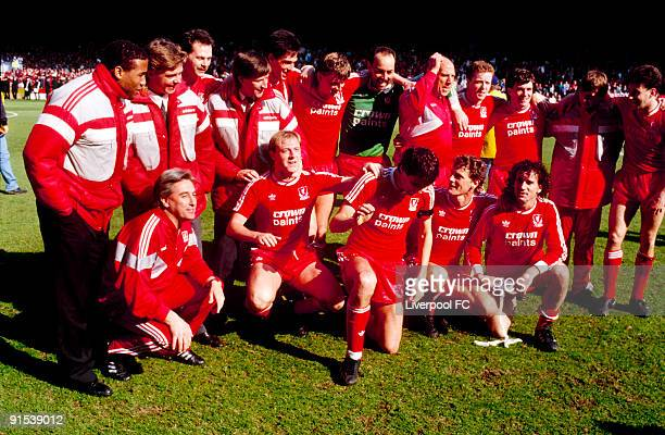 Liverpool FC players celebrate being crowned 1987/88 league champions after the Barclays League Division One match between Liverpool and Luton Town...