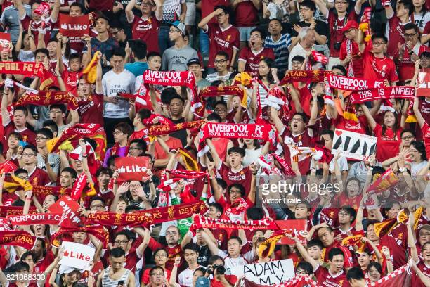 Liverpool FC soccer fans show their supports during the Premier League Asia Trophy match between Liverpool FC and Leicester City FC at Hong Kong...