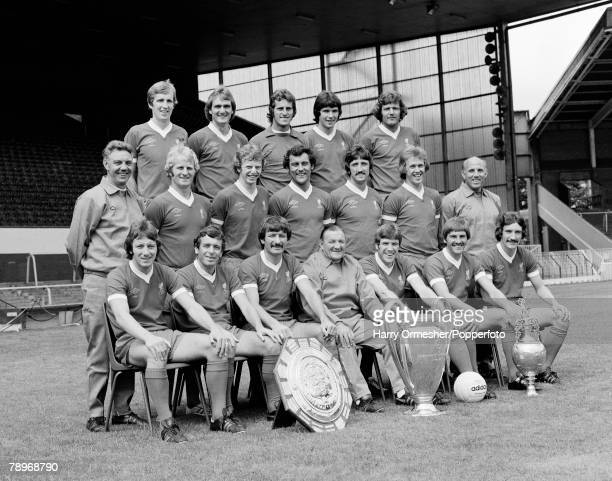 Football Season 1977/8 Liverpool FC Photocall The Liverpool squad pose together for a group photograph with the trophies they won the Charity Shield...