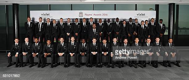 Liverpool FC squad pose for a team photo as they arrive at the Liverpool FC End of Season Awards at The Exhibition Centre on May 12 2016 in Liverpool...