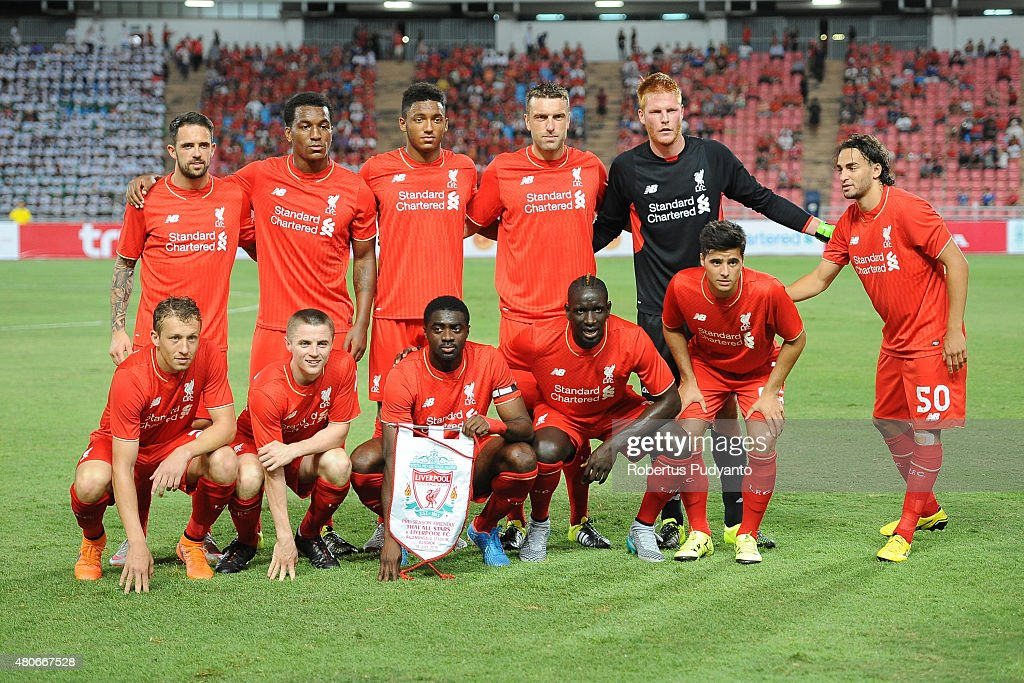 Liverpool FC team pose during the international friendly match between Thai Premier League All Stars and Liverpool FC at Rajamangala Stadium on July 14, 2015 in Bangkok, Thailand.