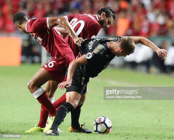 Liverpool FC Trent AlexanderArnold Adam Lallana and Leicester City FC Marc Albrighton in action during Premier League Asia Trophy in Hong Kong...