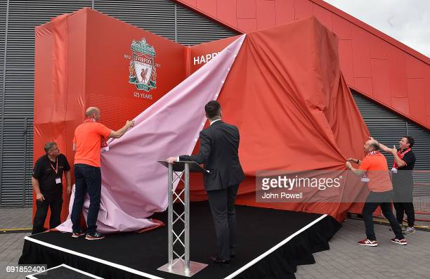 Liverpool Fc Unveil Birthday Card Celebrating Clubs 125 Years Stock