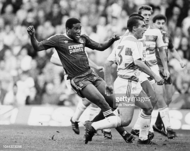 Liverpool FC winger John Barnes scores the first of his two goals during a Division One football match against Queens Park Rangers FC held at Anfield...