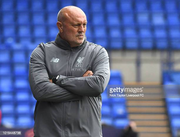 Liverpool FC Women manager Neil Redfearn during the Liverpool FC Women v Manchester United Women game at Prenton Park on August 19 2018 in Birkenhead...