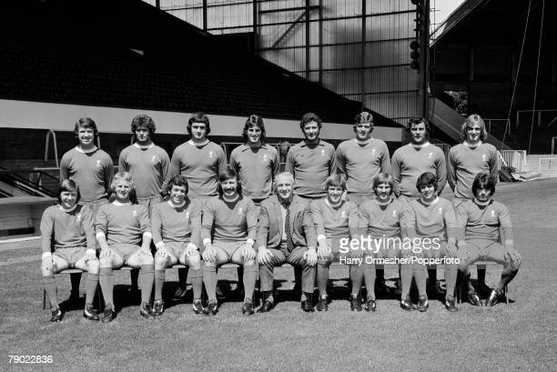 Liverpool FC's FA Cup Final squad line up for a team photograph at Anfield in Liverpool, England, circa May 1974. Back row : Chris Lawler, Phil...