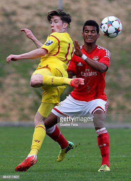 Liverpool FC's forward Harry Wilson and SL Benfica's defender Isaac Fernandes in action during the UEFA Youth League match between SL Benfica and...