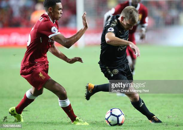 Liverpool FC's Trent AlexanderArnold and Leicester City FC's Marc Albrighton in action during Premier League Asia Trophy in Hong Kong Stadium 22JUL17...