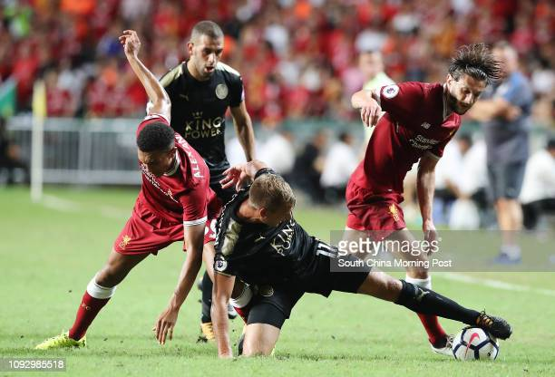 Liverpool FC'sTrent AlexanderArnold Adam Lallana and Leicester City FC's Marc Albrighton in action during Premier League Asia Trophy in Hong Kong...