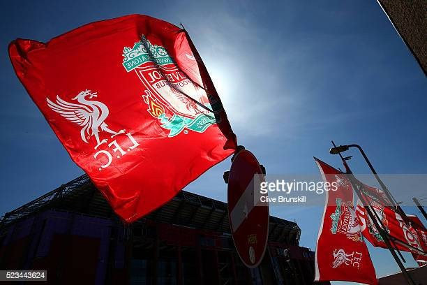 Liverpool flag on show during the Barclays Premier League match between Liverpool and Newcastle United at Anfield on April 23 2016 in Liverpool...