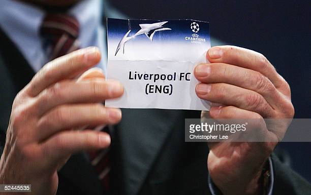 Liverpool Football Club are drawn out the bowl to play Juventus during the UEFA Champions League quarter finals draw at the UEFA headquarters on...