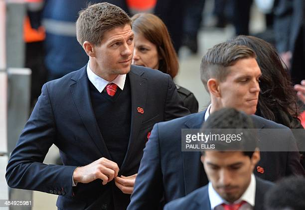 Liverpool football club captain Steven Gerrard leaves after a memorial service to mark the 25th anniversary of the Hillsborough Disaster at Anfield...