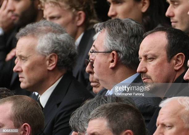 Liverpool Football Club Chief Executive Rick Parry and manager Rafael Benitez attend a service at Anfield football stadium in Liverpool to mark the...