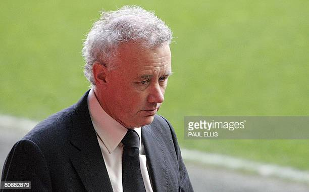 Liverpool football club chief executive Rick Parry arrives for a service at Anfield football stadium in Liverpool northwest England on April 15 to...