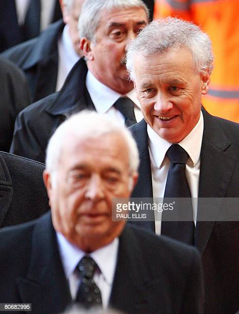 Liverpool football club chief executive Rick Parry leaves after a service at Anfield football stadium in Liverpool northwest England on April 15 to...