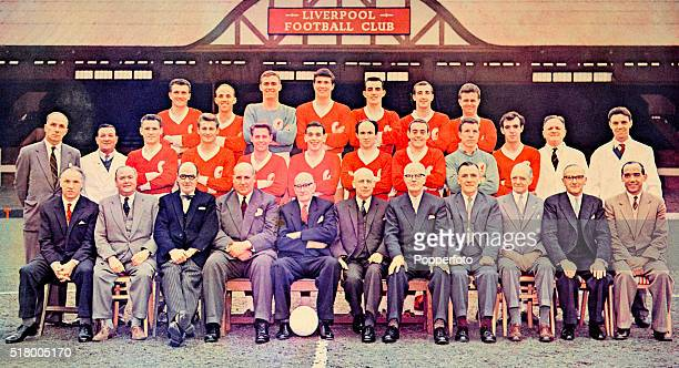 Liverpool Football Club following their Second Division Championship and promotion circa May 1962 Left to right top row Dick White Ronnie Moran Jimmy...