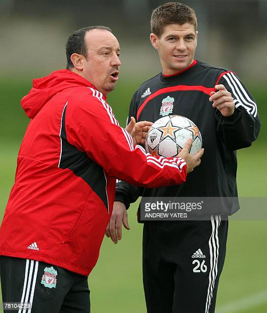 Liverpool football club manager Rafa Benitez and player Steven Gerrard attend a team training session at the Melwood training complex in Liverpool in...