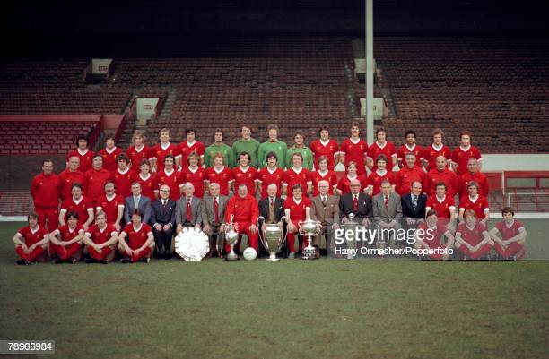 Liverpool Football Club players and officials line up for a group photograph at Anfield in Liverpool, England, circa August 1977. Back row : Jeff...