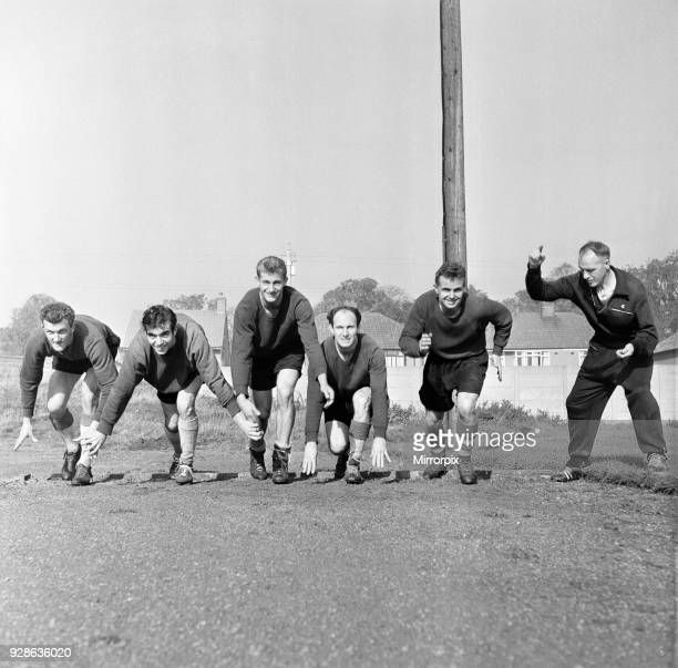 Liverpool Football Club team training at Melwood Drive, West Derby. Manager Bill Shankly starts five of his team off in a 100 yard sprint. Left to...