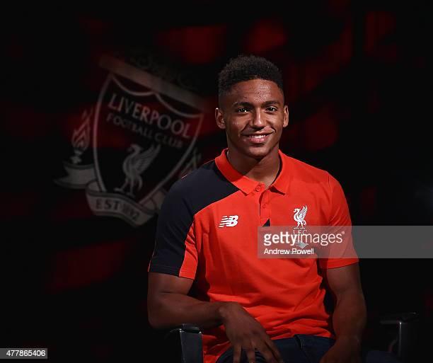 Liverpool Football Club's new signing Joe Gomez poses for a photograph following his transfer on June 20 2015 in Liverpool England