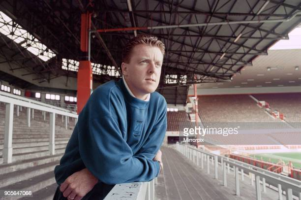 Liverpool football player Steve Nicol poses in the Kop stand at Anfield Stadium 7th October 1993