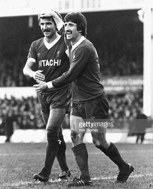 Liverpool football players David Johnson and Graeme Souness celebrating following Johnson's 2nd goal against West Bromwich Albion during a division...
