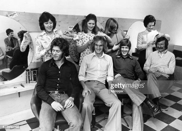 Liverpool football players getting spruced up for the new season as they open a new hair salon in Walton and receive a free trim for their trouble....