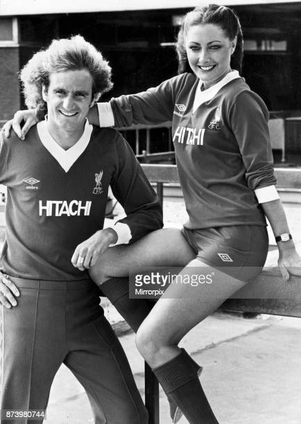 Liverpool footballer Phil Thompson with model Toni Byrne both wearing the new Liverpool Hitachi sponsored strip July 1979