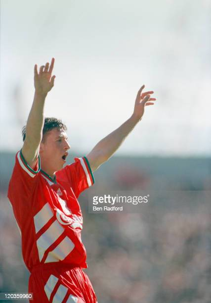 Liverpool footballer Robbie Fowler celebrates his second goal of three during a match against Arsenal 28th August 1994 Liverpool won the match 30