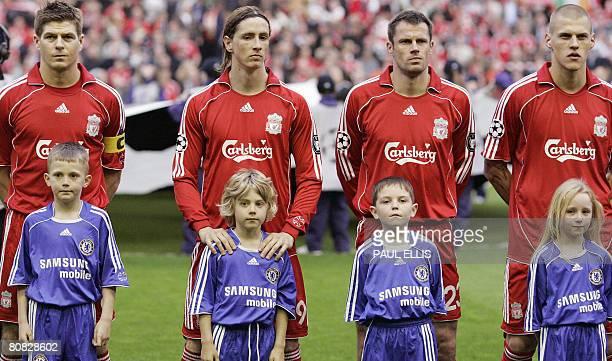 Liverpool footballers English midfielder Steven Gerrard, Spanish forward Fernando Torres, English defender Jamie Carragher and Slovakian defender...